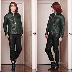 Philip Mak - Joseph Leather Joggers, Balmain Leather Shirt, Gareth Pugh Biker Boots - Green Palace