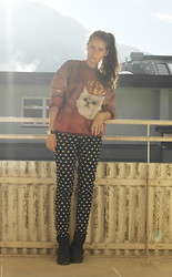 Sandra G - Mr. Gugu & Miss Go Oversized Sweater, H&M Black Cross Pants - Sunlight