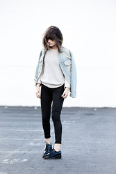 Rima Vaidila - First Base Knit Sweater, Paige Waxed Denim, Missguided Croc Brogues - Breezy
