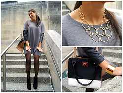 Claudia Di Capua - Zara Dress, Bcbg Booties, Dsw Winged Bag, Francesca's Necklace, J.Crew Cuff - Sweater[dress] Weather