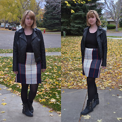 Elizabeth Claire - Mudd Leather Jacket, K Mart Black Shirt, Target Plaid Pencil Skirt, Kenneth Cole Motorcycle Boots - Windy Day