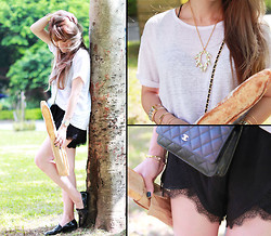MillyQ Chung - Alexander Wang Linen Silk Jersey Oversized Tee, Lovers + Friends Young Romance Short, Chanel Wallet On Chain, Isabelle Michel Sun Shine Crystal Necklace, Chanel Vernis Loafer - Let's Go Have A Parisian Picnic!