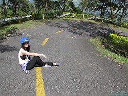 Jhay-cee Cruzena - Character Bullcap, White Tee, Long Sleeve Plaid, Black Leggings, Blue Sneakers - Mountain High