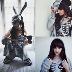 María Moreno - Black Milk Clothing Ribs Swimsuit, H&M Hoddie, American Apparel Stripe Thigh High Socks, Diy Frank Mask, Ebay Wig - They made me do it (Donnie Darko)
