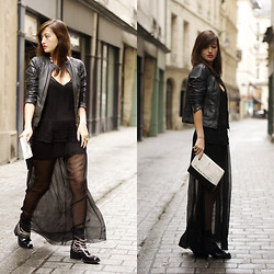 Nikita Wong - Ddp Leather Jacket, Lulu Yasmine Lace Top, Lulu Yasmine Sheer, Zara Boots - Sheer
