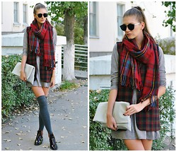 Yulia Sidorenko - H&M Dress, Persun Scarf, Choies Clutch, Centro Boots, Oasap Sunglasses, H&M Stockings - Gray and burgundy