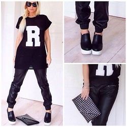 Radana Adachi - R&E Heels, Gate Clutch, Zara Pants, River Island Dress, Céline Sunglasses - Just R