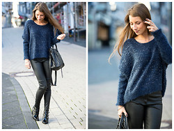 Stephanie Van Klev - Zara Leatherpants, Jimmy Choo Ankle Booties, Balenciaga Bag - MIDNIGHT BLUE