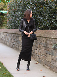 Laura H - Zara Leather Jacket, Zara Boots, H&M Dress, Forever 21 Bag - Black Maxi