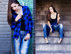 Mariya Marinova - H&M Necklace, Bershka Jeans, H&M Top, Stradivarius Shirt - Blue Plaid.