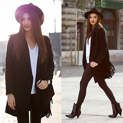Larisa Costea - Sheinside Coat, Oasap Hat, Sheinside Leggings, Jessica Buurman Boots - Almost all black