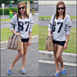 Twinkz A. - Mango Sweatshirt, Uniqlo Shorts, Cmg Bag, Outland Top Sider - BIRTHYEAR