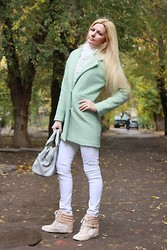 Diana Malli ஐ - Sheinside Coat, Zara Trousers, Bershka Beckett, New Yorker Bag - Mint coat