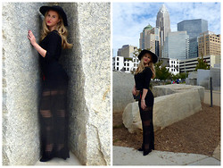 Arielle K - Topshop Floppy Hat, Theory Sweater, Topshop Black Slip, Warehouse Overlay Dress, Sandro Clutch - La Rochelle