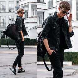 Georg Mallner - Zerouv Indie Dapper Vintage Round Half Frame With Crossbar Fashion Sunglasses 9172, Weekday Bag, Diesel Denim Jacket - October 27, 2014
