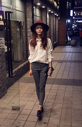 Lina Lee - H&M Hat, Clarks Oxfords, Christian Dior Clutch - Geomatric