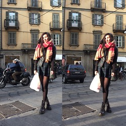 Ami B. - Zara Scarf, Brandy Malville Skirt, Dr. Martens Boots - Milanese Sunny Day
