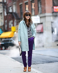 Diana Z Wang - Asos Mint Trapeze Coat, Cos Press Fold Wool Pants, H&M Cashmere Sweater, Maxstudio Ankle Boots, Narciso Rodriguez Colorblock Concave Clutch - Colorblocking