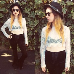 Sally S - Vintage Sheer Crop Top, Urban Outfitters Bralet, Lip Service Bell Bottoms, Ebay Flat Brim Hat, Zerouv Sunglasses, Kelsi Dagger Ankle Boots - Sheer Luck