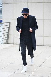Rolandas Lušinskis - Zara Hat, River Island Roll Neck, Cos Coat, Cheap Monday Jeans, Sandro Sneakers - NAVY OBSESSED