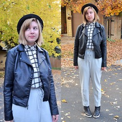 Elizabeth Claire - Mudd Leather Jacket, New Look Black And White Sleeveless Top, Zara Grey Trousers, New Look Black And White Ankle Boots, H&M Bowler Hat - Fall Colors