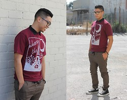 "Gary Agunos - Cotton On Joggers, Converse Mid Top, H&M Laced Bracelet, Rue21 Glasses, Vintage Native - ""Where's The Love"""