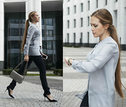 Alena Vorontsova - Versace Pants, Giorgio Armani Blouse, Michael Kors Watch, Jimmy Choo Shoes - Elegance