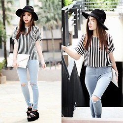 Anico Hanna G - Romwe Black And White Stripes, Miyoc Hw Ripped Jeans, Lovelyshoes Platform, Forever 21 Chain Necklace, Romwe Hat - Ripped ft Stripes