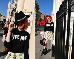 Sharley L. - Missguided Bite Me Cropped Sweater, O Mighty Weekend Zombie Hand Skirt, Missguided Cleated Platforms - I say Bite Me