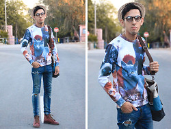 Ahmed Imoudrog - Giantvintage Ginatvintage Glasses, Choies 3d Unisex Cat Print Sweatshirt - CATS