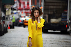 Kristina Dimitrova - Asos Mango Dress With Stepped Hem In Yellow, Miss Sixty Wings Bracelet - The Streets of New York