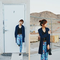 Sarah D. - Forever 21 Floral Pants, Forever 21 Whatever Flats, Topman Cross Necklace - Blue Florals