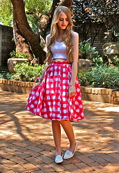 Nikki S -  - Red Checkered Skirt