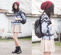 Sabrina Kwan - Combat Boots, Skater Skirt, Zara Chevron Sweater, Target Faux Leather Backpack - Cherry top