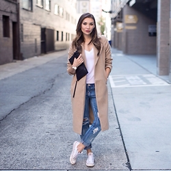 Tienlyn . - Missguided Camel Coat, One Teaspoon Awesome Baggies Bf Jeans - Seattle Chill