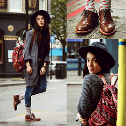 Alessandra Kamaile - H&M Cardigan, Mango Shirt, Gypsy Warrior Backpack, Pepe Jeans, Topshop Pepper Socks, Bertie Shoes, H&M Hat, Urbiana Ring - Walk this way - MØ