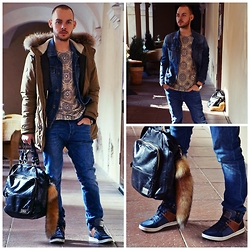 INNYdrug diwaD atiK - Museum Parka Jacket, United Colors Of Benetton Jeans Jacket, Ones Supply Co. T Shirt, Calvin Klein Jeans Bag, Guess? Guess Sneakers, H&M Jeans - Look at ME | INNYdrug