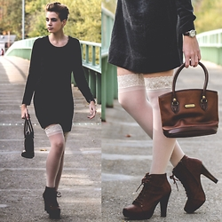 Jenny C. - Calvin Klein Dress, Silkies Thigh Highs, Charlotte Russe Booties, Liz Claiborne Tote, Swiss Army Watch - Sweater Dress