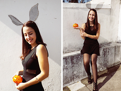 Sandra Pinto - Diyed Bunny Ears, Pull & Bear Black See Through, Mary Paz Black Laced Up Sandals, Born Pretty Skull Bracelet - Lets Be Cute Little Bunnies!