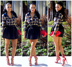 Marina Hidalgo - Oasap Plaid Shirt, Oasap Sexy Lip Shape Shoulder Bag, Shoedazzle Dress Heel Sandals, Oasap Pleated Color Skirt, H&M Wrap Around Belt - Fashion Is Over Quickly. Style Is Forever