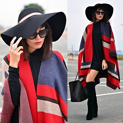 Paris Sue - Prada Sunnies, Persun Knee High Boots, Givenchy Bag, Sheinside Dress, Ozzhat Hat, H&M Ring, Koton Poncho - It's Poncho time!