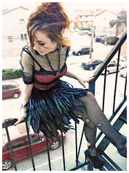 Alissa L - Romwe Feather Skirt, Romwe Feather Print Bustier Top, Romwe Sheer Fancy Collar Top, Handmade Black Curb Chain, Thrifted Fishnets, Justfab Stiletto Mary Janes - FOR TO HAVE FAITH IS TO HAVE FEATHERS AND WINGS ❣