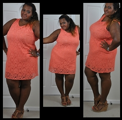 Kat Henry - F&F Clothing @ Tesco Lace Dress, Hush Puppies Wedges - Coral Lace Plus Size