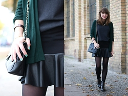 L T - H&M Skirt, Zara Cardigan - Darker shades