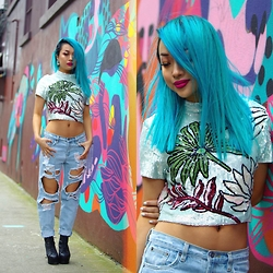 Anna Bell - Glassons Sequence Cropped Top, Junk Food Ripped Jeans, Jeffrey Campbell Litas, Manic Panic Bad Boy Blue & Atomic Turquoise - Baby Blue