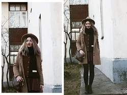 ♡Anita Kurkach♡ - Choies Sweater, Asos Coat, Asos Hat, Asos Bag, Alisonman Shoes, Sheinside Skirt - Fall Outfit!