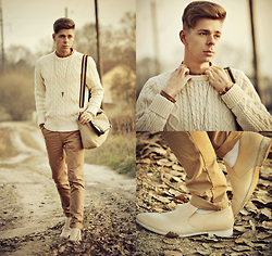 Edgar - H&M Sand Color Slim Fit Chinos, Maison Martin Margiela Mold Effect Loafers, Primark Sand Color Satchel, Topman Triangle Necklace, H&M White Cable Knit Jumper, Primark Brown Plain Shirt - WINTER IS COMING