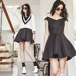 Elle-May Leckenby - Black Flair Dress, Choies Deep V Sweater, Zerouv Oversize Cateye Sunglasses - It's swell