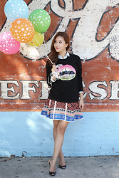 Christina Oh - Marcus Lupfer Sweater, Diane Von Furstenberg Skirt, Christian Louboutin Shoes, Loft Blouse, Tiffany & Co. Bracelet, Roberto Coin Ring - Balloon Day