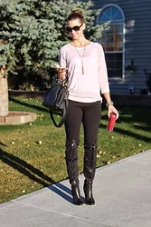 Cindy Batchelor - Levi's® Denizen By The Levi & Strauss Brand, Paper Fox Maori Thigh High Boots, Express Pale Pink Sheer Sweater - On-the-Go Fall Style